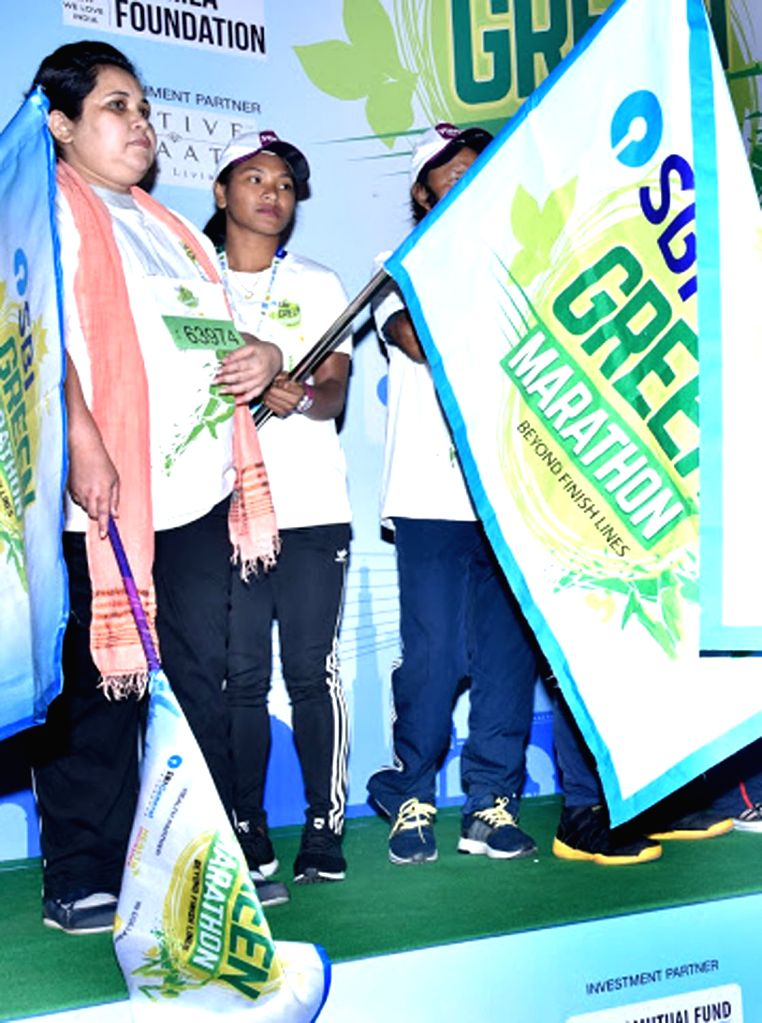 Asian Games gold medallist Swapna Barman flags off the 'SBI Green Marathon' in Kolkata, on Feb 24, 2019.