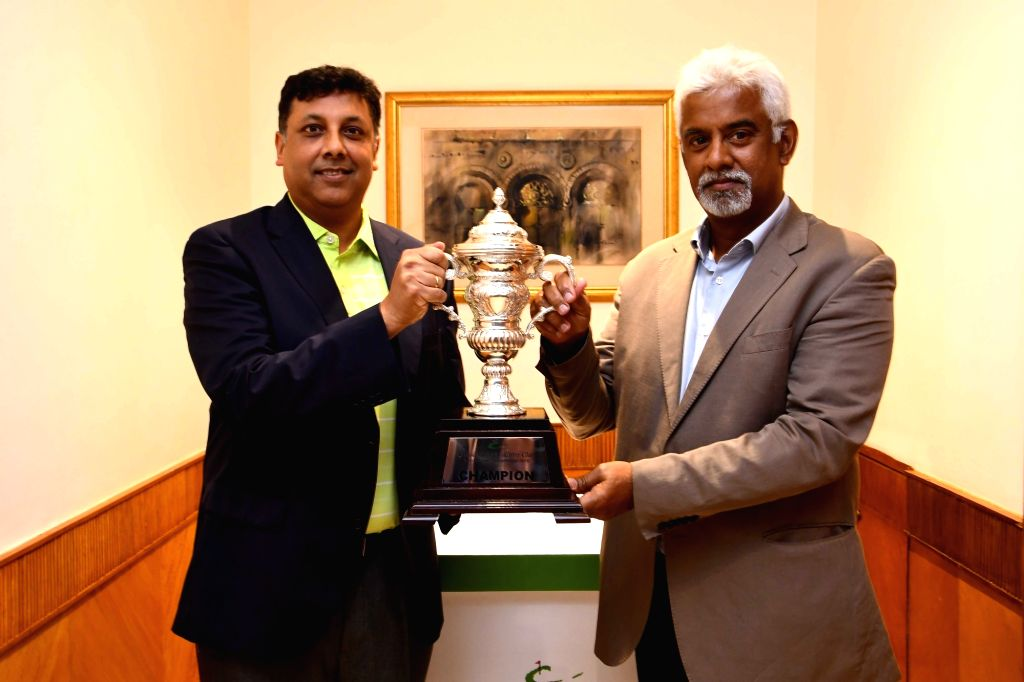 Asian Tour Tour Development Rahul Singh and Landbase India Ltd MD B. Hariharan with the Classic Golf and Country Club International Championship trophy at the launch of the Championship in ...