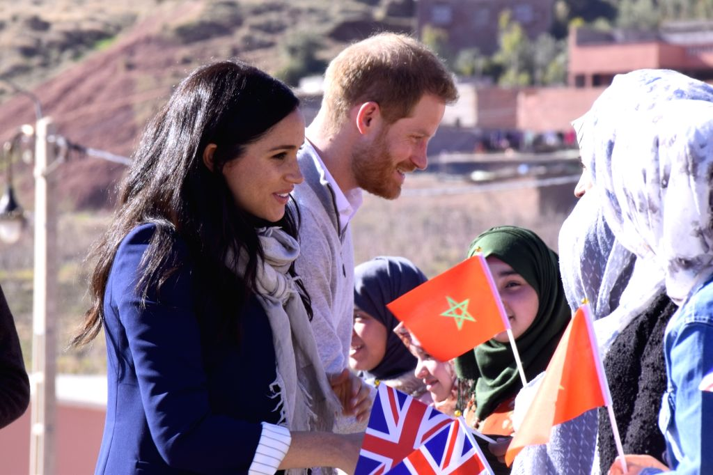 ASNI (MOROCCO), Feb. 24, 2019 The UK's Prince Harry (C) and his wife Meghan visit a boarding house in Asni, Morocco, on Feb. 24, 2019. Prince Harry and his wife Meghan on Sunday visited ...