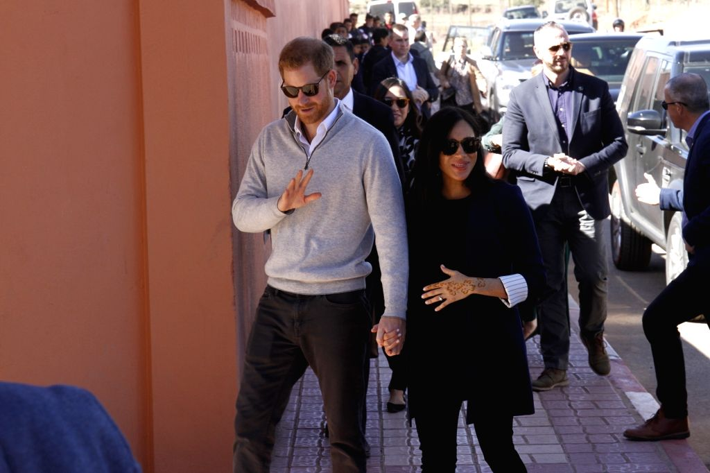 ASNI (MOROCCO), Feb. 24, 2019 The UK's Prince Harry (L, Front) and his wife Meghan visit a boarding house in Asni, Morocco, on Feb. 24, 2019. Prince Harry and his wife Meghan on Sunday ...