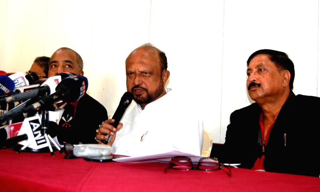 Asom Gana Parishad (AGP) leader Prafulla Kumar Mahanta addresses a press conference in Guwahati on Dec 11, 2018. - Prafulla Kumar Mahanta