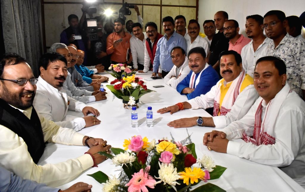 Asom Gana Parishad (AGP) President Atul Bora, party leader Keshab Mahanta, BJP leader Himanta Biswa Sarma and other leaders of the parties during a meeting in Guwahati, on March 14, 2019.