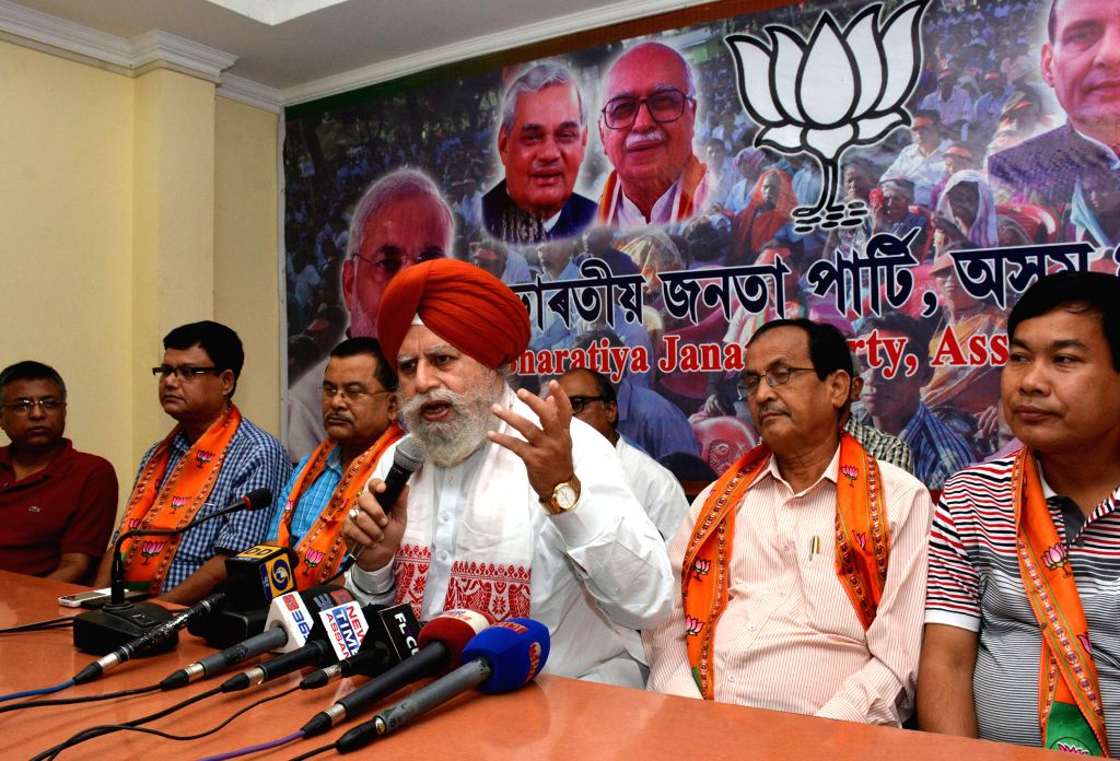 Assam BJP in-charge SS Ahluwalia during a press conference in Guwahati on Aug 3, 2014.