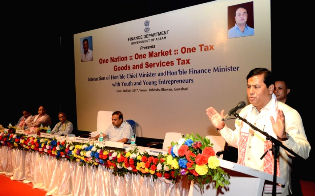 Assam Chief Minister Sarbananda Sonowal addresses during a programme on GST in Guwahati on July 2, 2017. - Sarbananda Sonowal