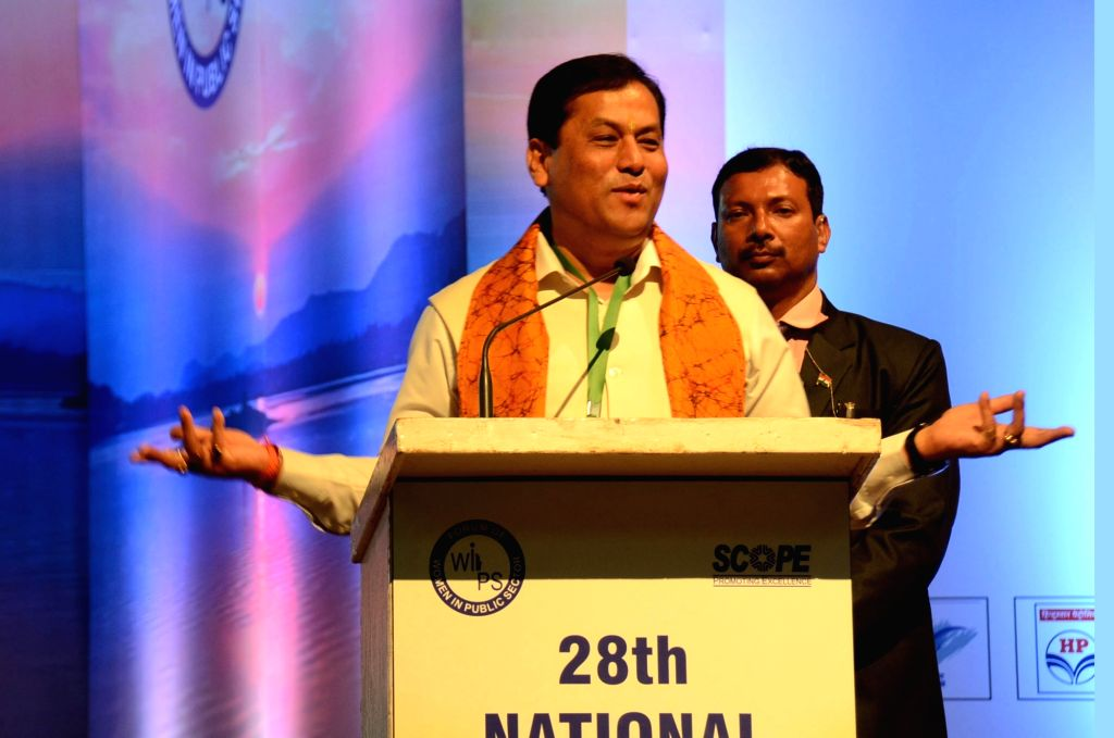 Assam Chief Minister Sarbananda Sonowal addresses at the National Convention of Forum of Women in Public Sector organised under the aegis of SCOPE at Srimanta Sankardev Kalakshetra in ... - Sarbananda Sonowal