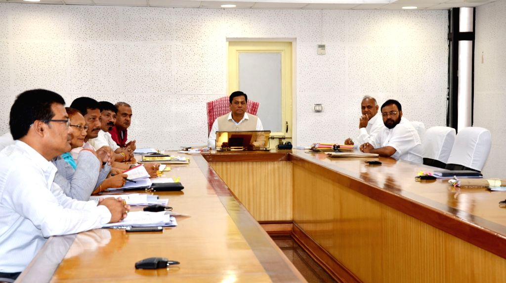 Assam Chief Minister Sarbananda Sonowal along with cabinet ministers (independent charge) on his first cabinet meeting at Assam secretariat in Guwahati, on June 27, 2016. - Sarbananda Sonowal