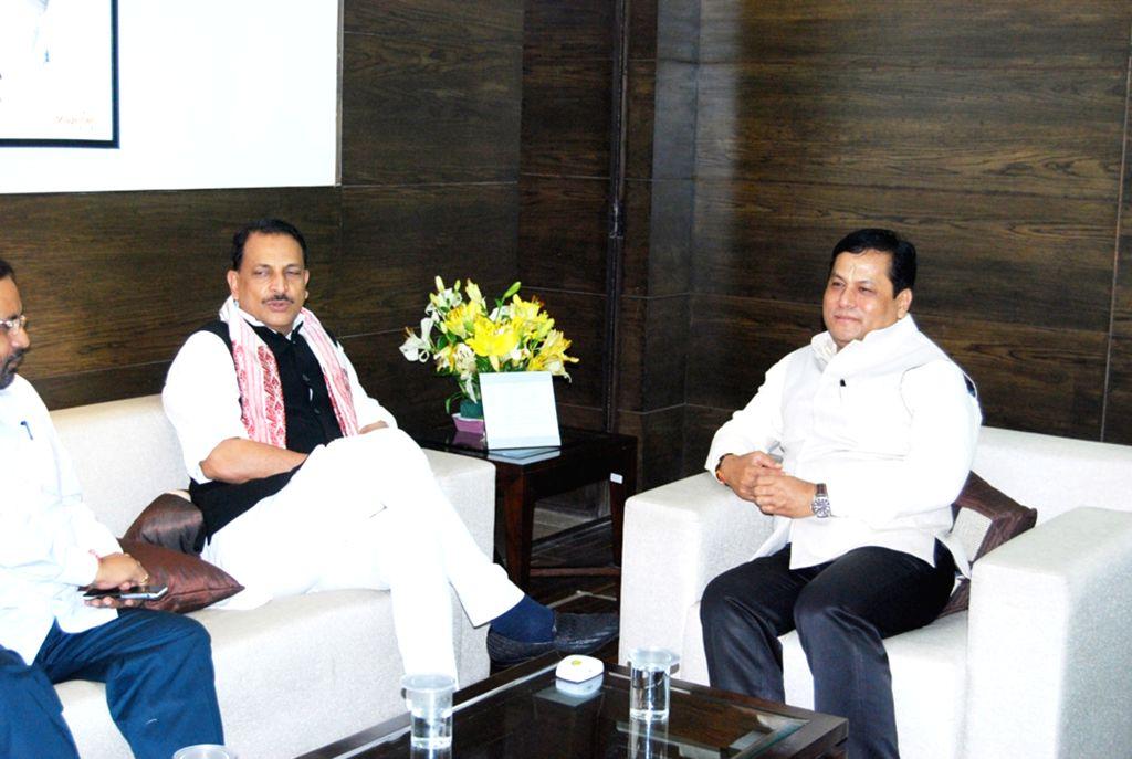 Assam Chief Minister Sarbananda Sonowal calls on Union Minister Rajiv Pratap Rudy in New Delhi, on Aug 5, 2016. - Sarbananda Sonowal