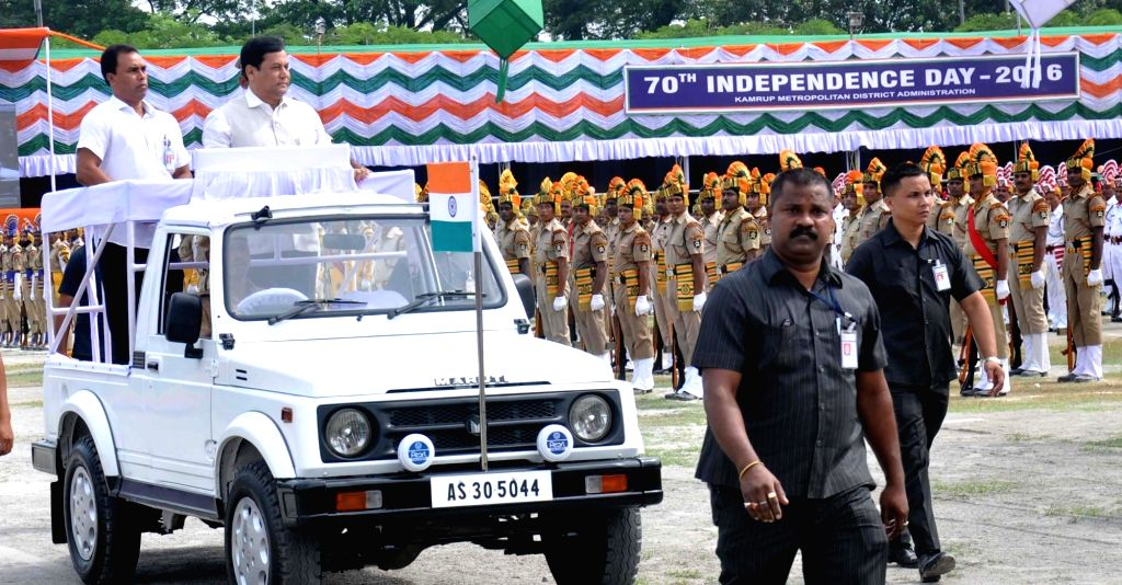 Assam Chief Minister Sarbananda Sonowal inspects Guard of Honour during Independence Day programme in Guwahati on Aug 15, 2016. - Sarbananda Sonowal