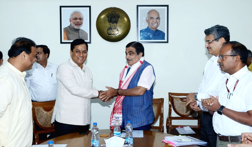 Assam Chief Minister Sarbananda Sonowal meets Union Road Transport and Highways and Micro, Small and Medium Enterprises Minister Nitin Gadkari, in New Delhi on June 13, 2019. - Sarbananda Sonowal