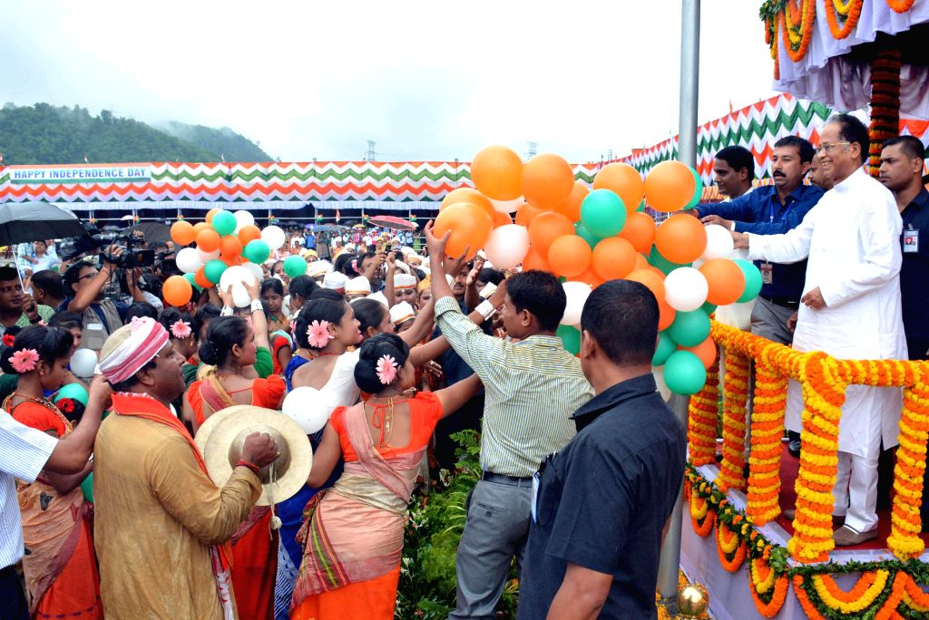 Assam Chief Minister Tarun Gogoi during Independence Day celebrations at Veterinary Field in Guwahati on Aug 15, 2014.