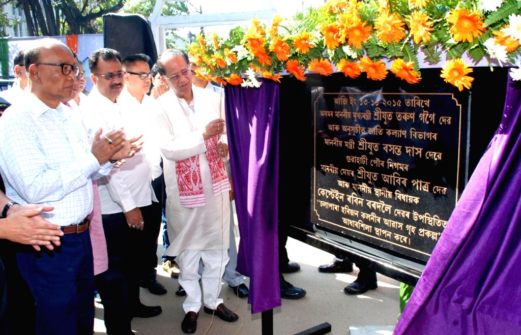 Assam Chief Minister Tarun Gogoi during the foundation stone laying ceremony of Solapara Harijan Housing Colony at the premises of Nehru Stadium in Guwahati on Nov. 13, 2015.