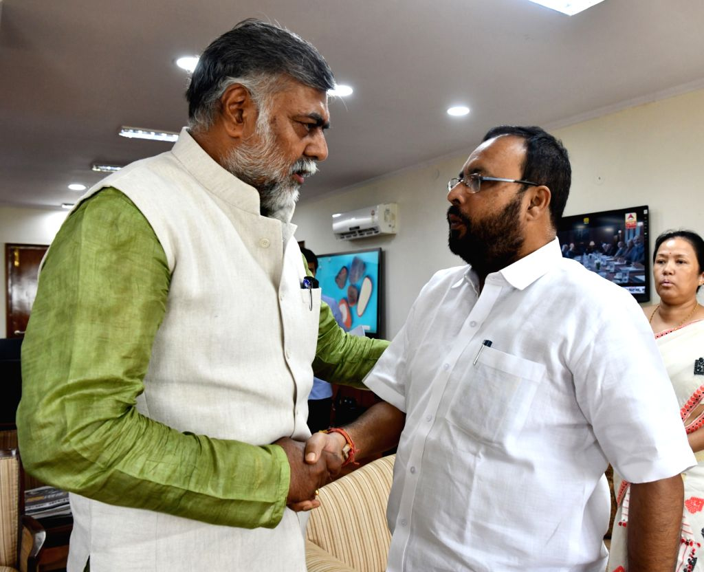 Assam Culture Minister Naba Kumar Doley meets the Minister of State for Culture and Tourism (Independent Charge) Prahalad Singh Patel, in New Delhi on June 14, 2019. - Naba Kumar Doley and Prahalad Singh Patel