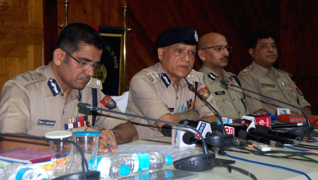 Assam Director General of Police (DGP) Kuladhar Saikia addresses a press conference regarding the upcoming Lok Sabha elections at the state police headquarters in Guwahati, on April 1, 2019.