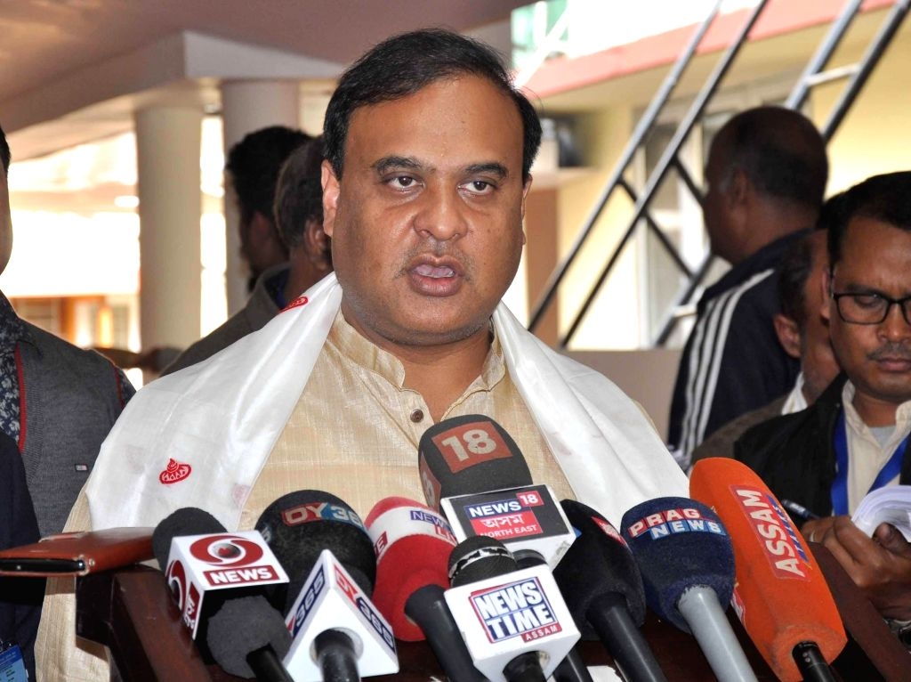 Assam Finance Minister Himanta Biswa Sarma talks to media persons after presenting the state budget for 2019-20 at the state assembly, in Guwahati on Feb 6, 2019. - Himanta Biswa Sarma