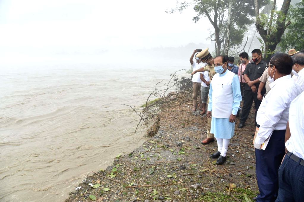 Assam Governor Prof. Jagdish Mukhi during his visit to the flood hit Barpeta and Baksa districts where the over-flowing rivers created havoc, rendering thousands of people homeless, on July ...