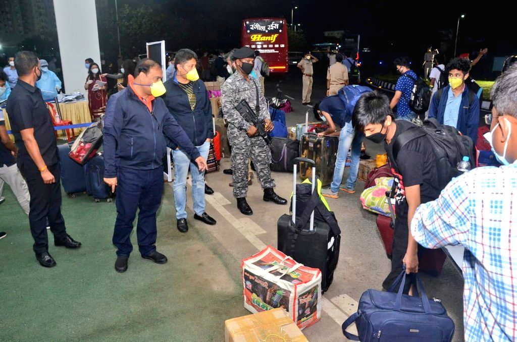 Assam Health Minister Himanta Biswa Sarma receives students in Guwahati on their arrival from the coaching hub of Kota in Rajasthan amid nationwide lockdown imposed to mitigate the spread ... - Himanta Biswa Sarma