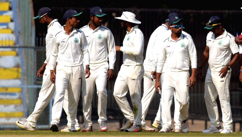 Assam players celebrate after winning a Ranji Trophy match against Haryana on Nov 30, 2018.