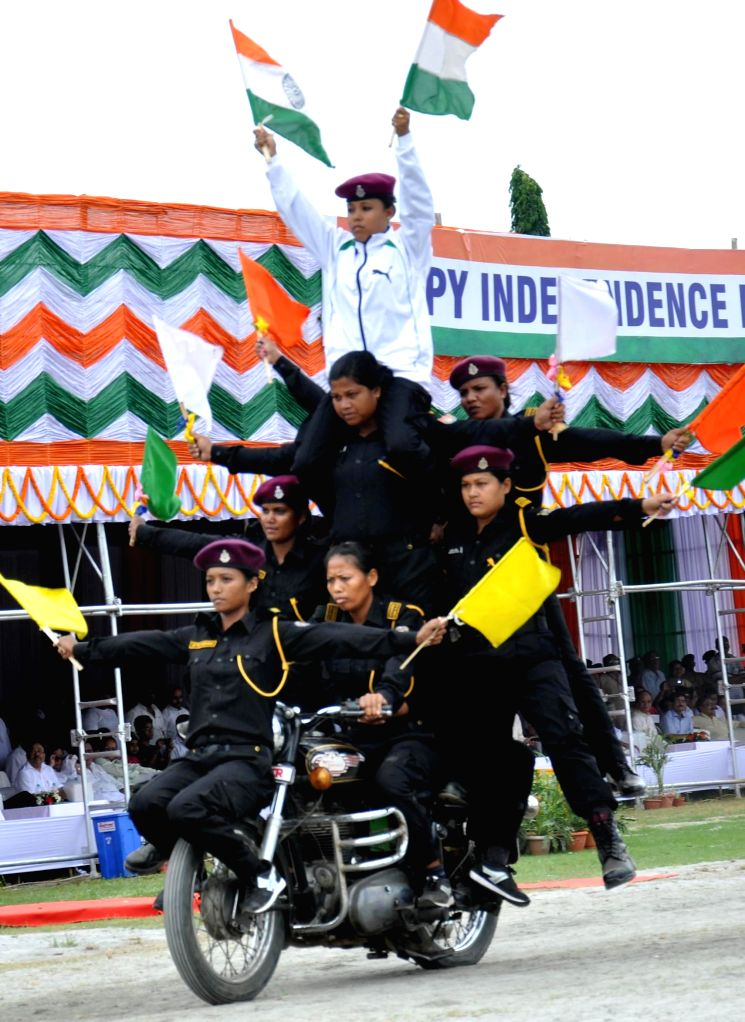 Assam police women show their skill during 69th Independence Day programme in Guwahati on August 15, 2015.
