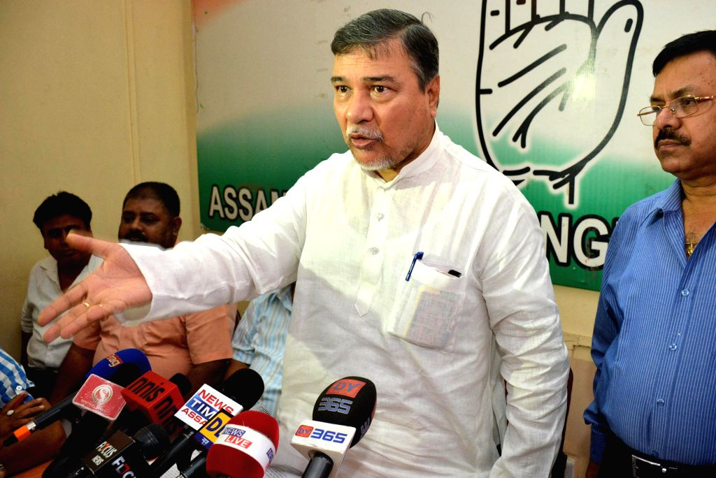 Assam Pradesh Congress Committee (APCC) President and Rajyasabha MP Bhubaneswar Kalita addressing a press conference regarding their party`s dissident Ministers and MLA`s at Rajiv Bhawan in Guwahati .
