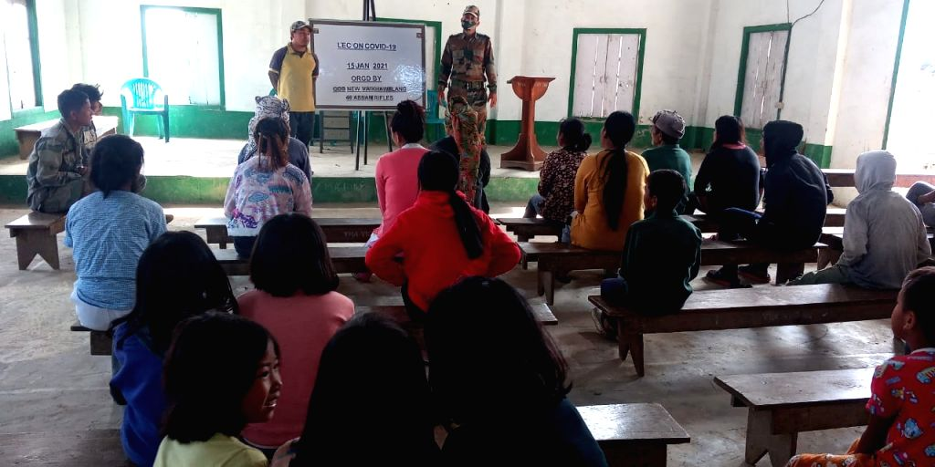 ASSAM RIFLES CONDUCTS COVID-19 AWARENESS DRIVE AT MIMBUNG NGOPA, NEW VAIKHAWTLANG, KAWLBEM AND HNAHLAN VILLAGE IN MIZORAM