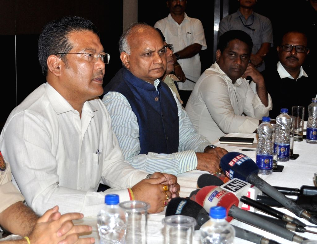 Assam Sports Minister Naba Kumar Doley addresses during a press conference over the incident of stone pelting at a bus carrying the Australian cricket team from Barsapara stadium after a ... - Naba Kumar Doley