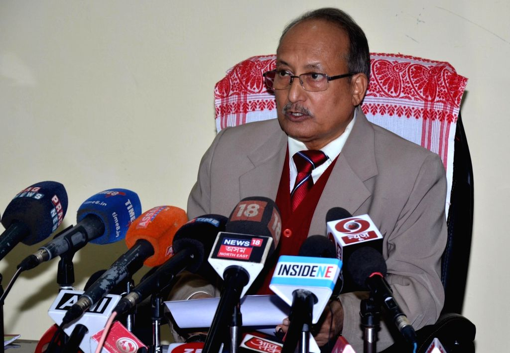 Assam State Election Commissioner Harendra Nath Bora addresses a press conference in Guwahati on Dec 12, 2018.
