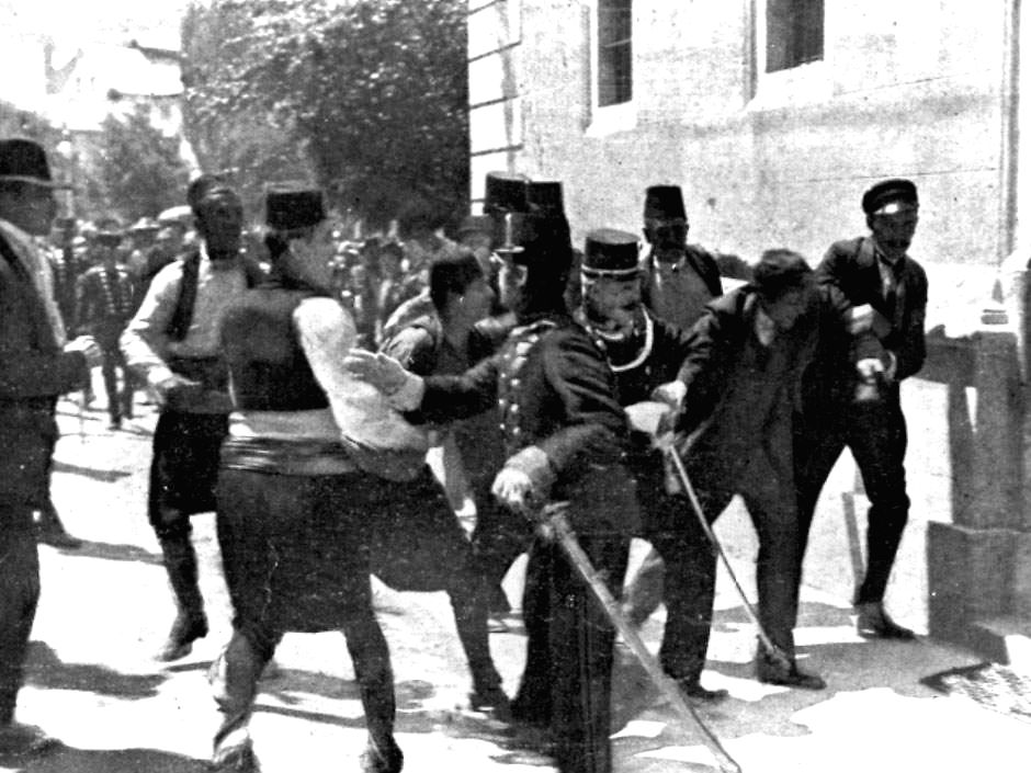 Assassin Gavril Princip is arrested after shooting Archduke Franz Ferdinand and his consort