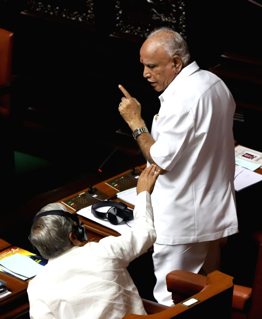 Assembly Opposition leader BS Yeddiyurappa during the discussion on audiogate controversy at the Karnataka Assembly Session at Vidhana Soudha, in Bengaluru on Feb 11, 2019.