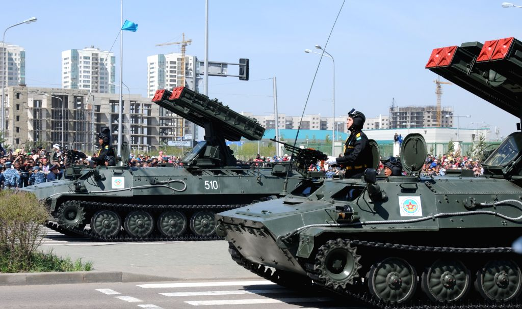 Kazakh military vehicles and weapons are seen during a parade of the armed forces to mark the Defenders of the Fatherland Day in Astana, Kazakhstan, May 7, 2014.