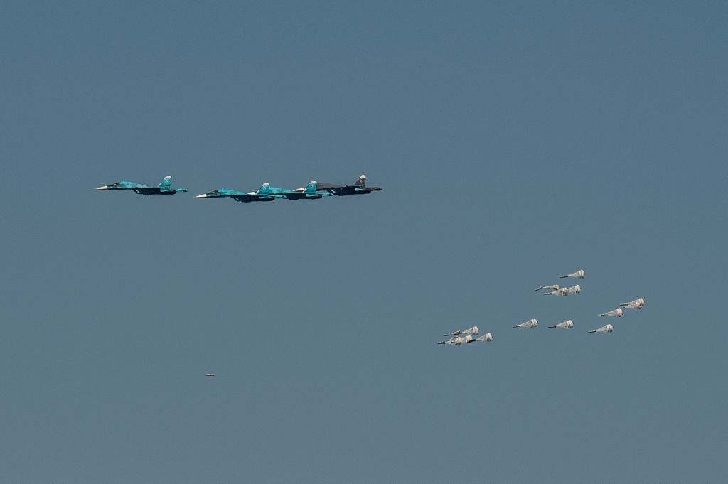 ASTRAKHAN, Aug. 6, 2017 - Su-34 bombers drop bombs during the Keys to the Sky competition of the International Army Games 2017 at Ashuluk training area in Astrakhan region, Russia, on Aug. 5, 2017. ...