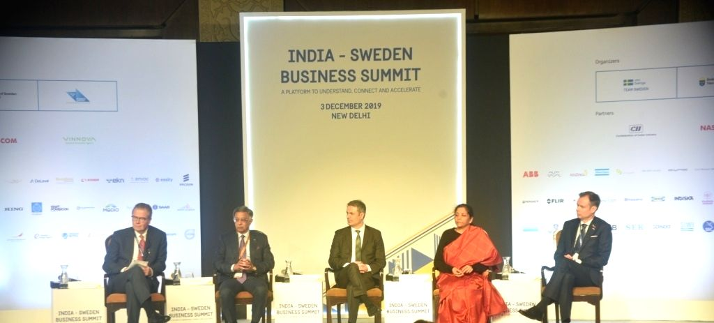 AstraZeneca Chairman Leif Johansson, CII National Committee on Defence Baba N Kalyani and Swedish Business, Industry and Innovation Minister Ibrahim Baylan at the inaugural session of ... - Ibrahim Baylan