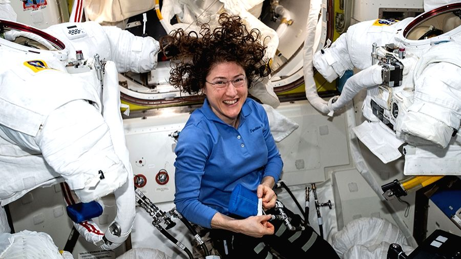 Astronaut Christina Koch who created a new female record by spending 328 days in space is back on Earth.