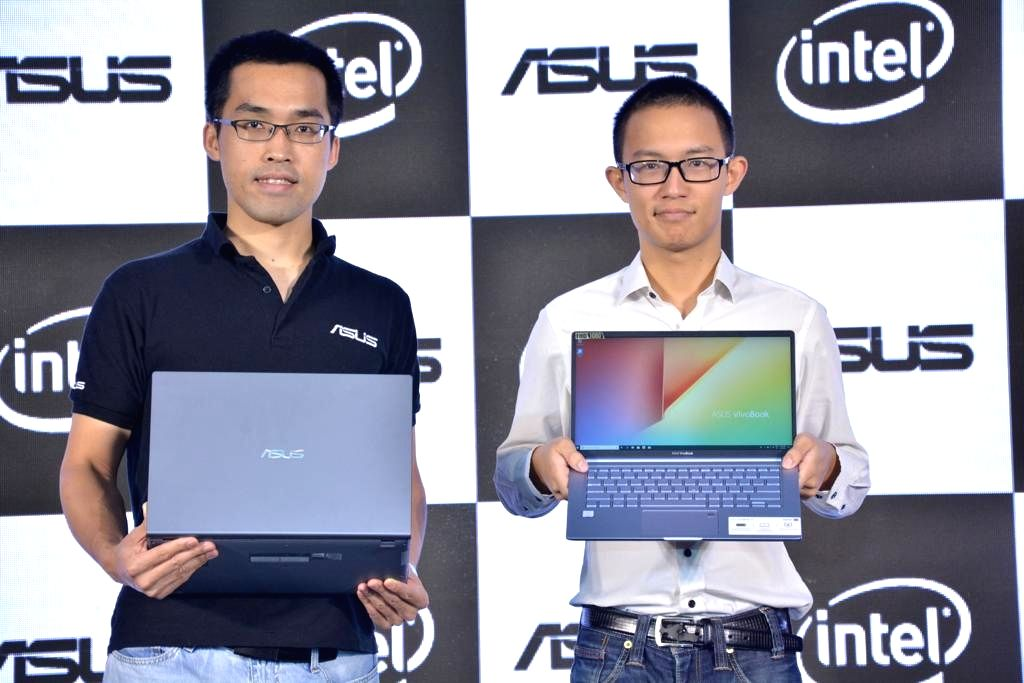 Asus India Head (Consumer Notebooks and ROG Business) Arnold Su and Country Product Manager (Consumer Notebook) Jonas Chen at the launch of Asus new VivoBook series, in New Delhi on Sep 4, ...