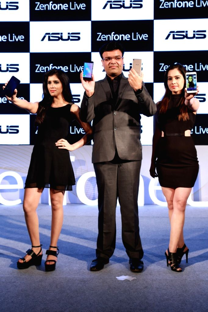 "ASUS unveils its new smartphone ""ZenFone Live"", in New Delhi on May 24,2017."