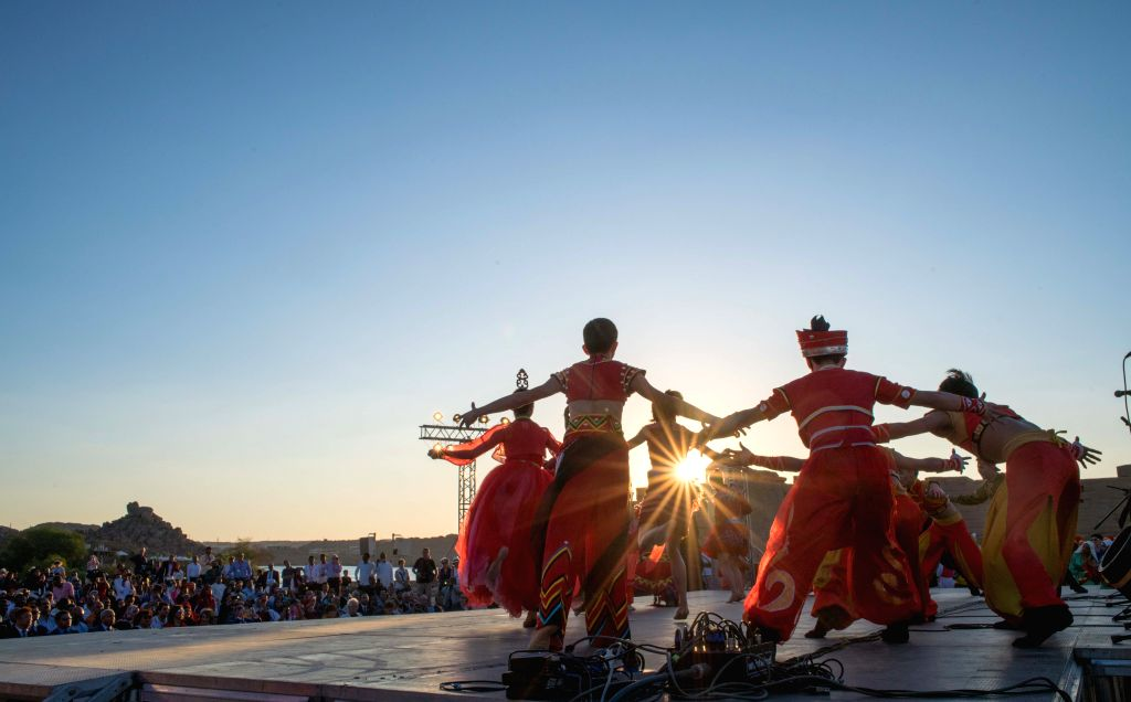ASWAN (EGYPT), Oct. 27, 2019 Artists from China's Xiamen Little Egert Folk Dance Group perform at Philae Temple in Aswan, Egypt, on Oct. 27, 2019. The fourth edition of the Afro-Chinese ...