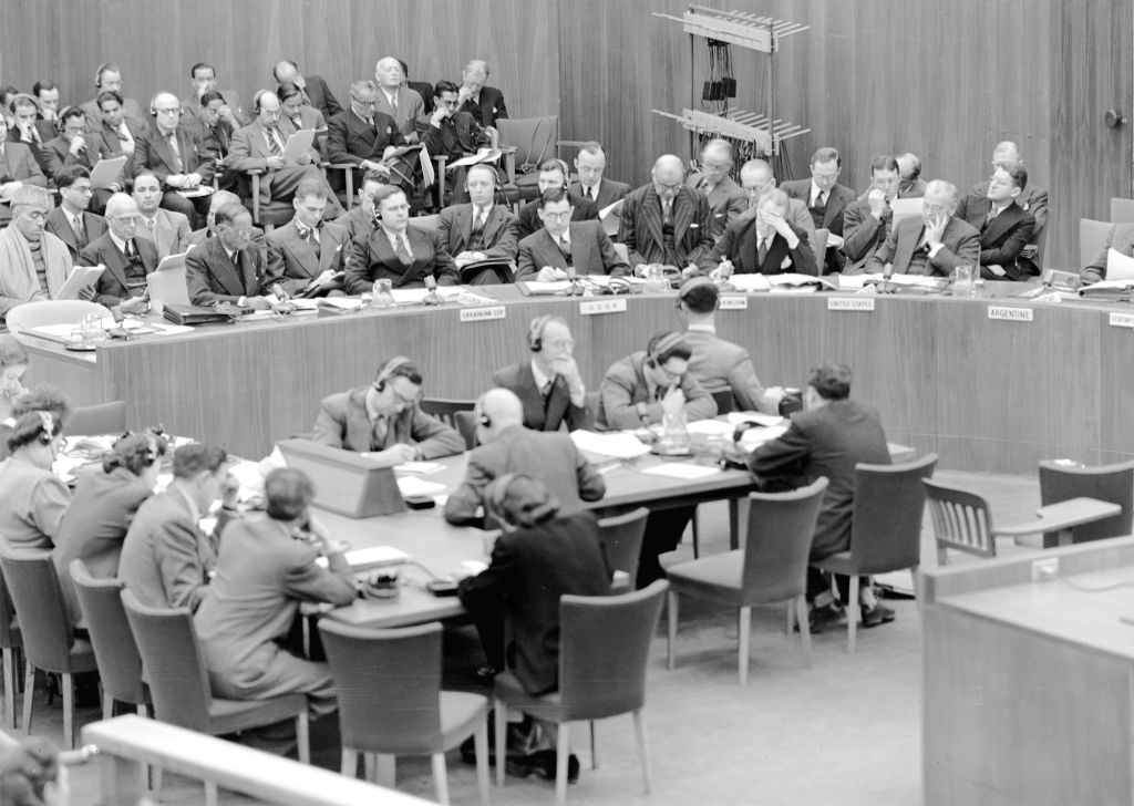 At a meeting of the Security Council on January 16, 1948, Indian Minister without Portfolio N. Gopalaswami Ayyangar, at left in the main table, presentsed his government's complaint against Pakistan concerning the situation in Jammu and Kashmir. Shei