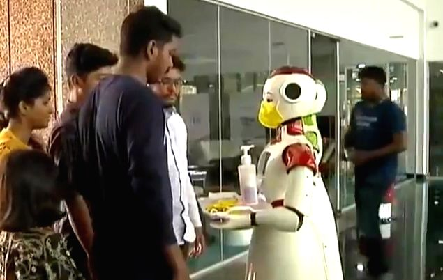 At Maker village here in Kerala's Integrated Startup Complex, Technology Innovation Zone, there are two robots which dispense sanitizers by spraying it on employees hands and even distribute masks to ...