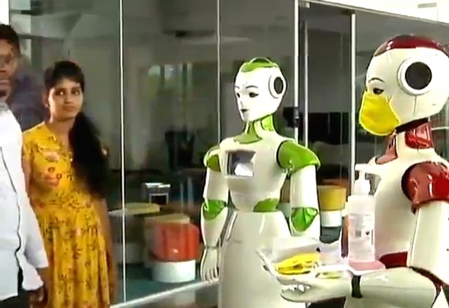 At Maker village here in Kerala's Integrated Startup Complex, Technology Innovation Zone, there are two robots which dispense sanitizers by spraying it on employees hands and even distribute masks to those who need them.