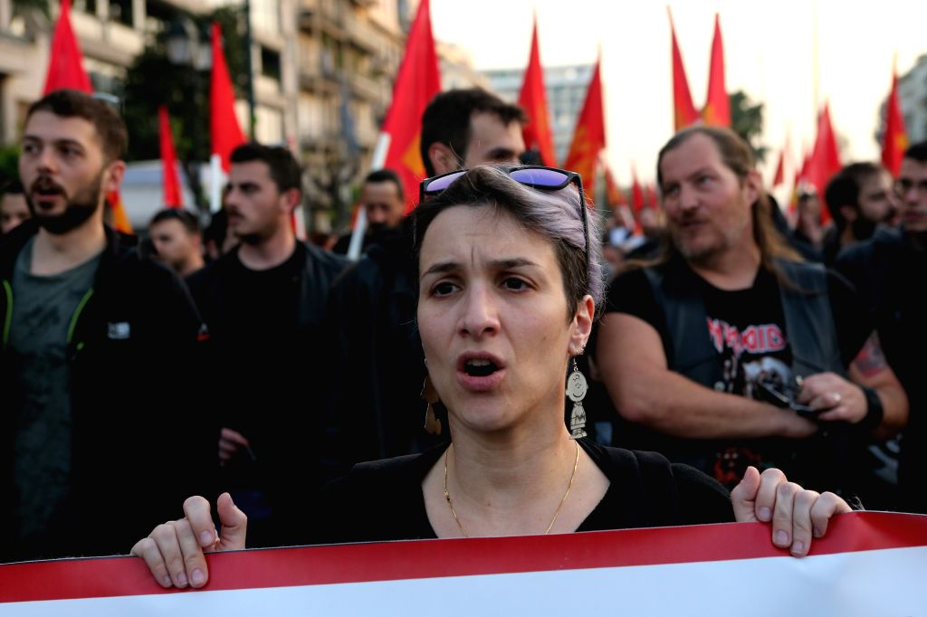 ATHENS, April 14, 2018 - Demonstrators shout slogans during a rally against military intervention in Syria, outside the U.S. Embassy in Athens, Greece, on April 13, 2018. More than 4,000 people took ...