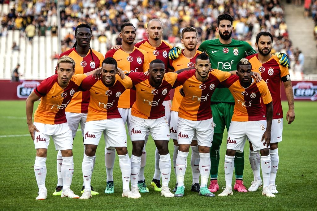ATHENS, Aug. 1, 2018 - Galatasaray's players pose for a group photo before the friendly soccer match between AEK Athens and Galatasaray held at OAKA Spiros Louis Stadium in Athens, Greece, July 31, ...