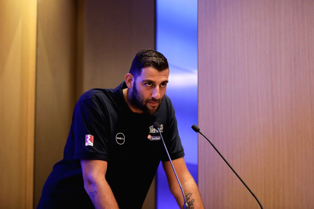 ATHENS, Aug. 2, 2019 - Greek national basketball team captain Ioannis Bourousis delivers a speech during the official presentation of the Greek National Basketball team in Athens, Greece, Aug. 1, ... - Ioannis Bourousis