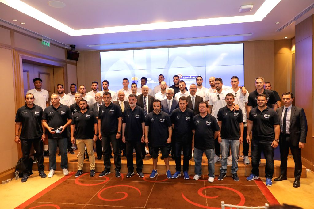 ATHENS, Aug. 2, 2019 - Greek national basketball team pose with the executives of the sponsor at the official presentation of the Greek National Basketball team in Athens, Greece, Aug. 1, 2019.