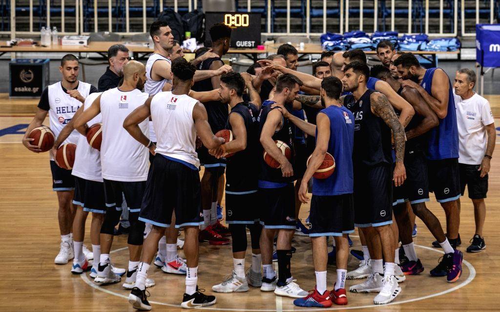 ATHENS, Aug. 3, 2019 - Greek national basketball team players attend a training session for the upcoming 2019 FIBA World Cup in China at the Olympic Athletic Center of Athens (O.A.C.A.) in Greece on ...