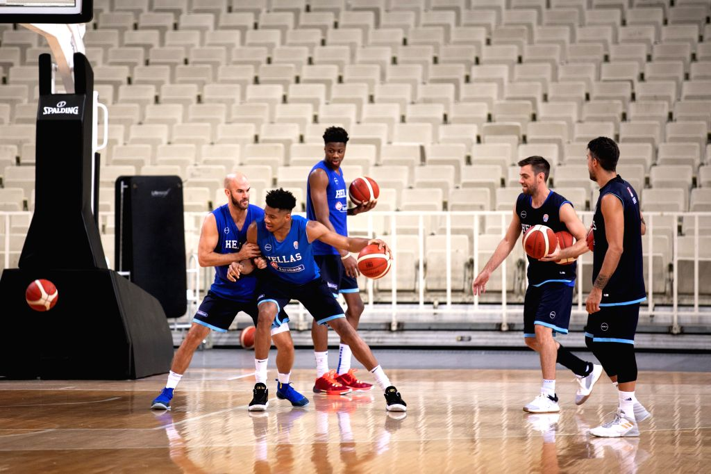 ATHENS, Aug. 3, 2019 - Greek national basketball team player Giannis Antetokounmpo (2nd L) attends a training session for the upcoming 2019 FIBA World Cup in China at the Olympic Athletic Center of ...