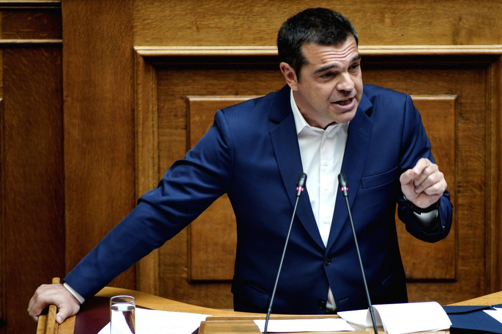 ATHENS, Aug. 8, 2019 - Greece's opposition party leader Alexis Tsipras delivers a speech at the Greek Parliament in Athens, Greece, on Aug. 8, 2019. The Greek Parliament on Thursday approved a bill ...