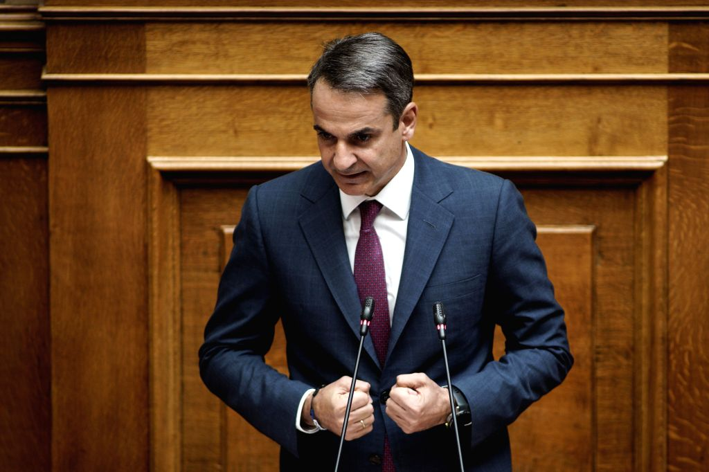 ATHENS, Aug. 8, 2019 - Greek Prime Minister Kyriakos Mitsotakis delivers a speech at the Greek Parliament in Athens, Greece, on Aug. 8, 2019. The Greek Parliament on Thursday approved a bill to scrap ... - Kyriakos Mitsotakis