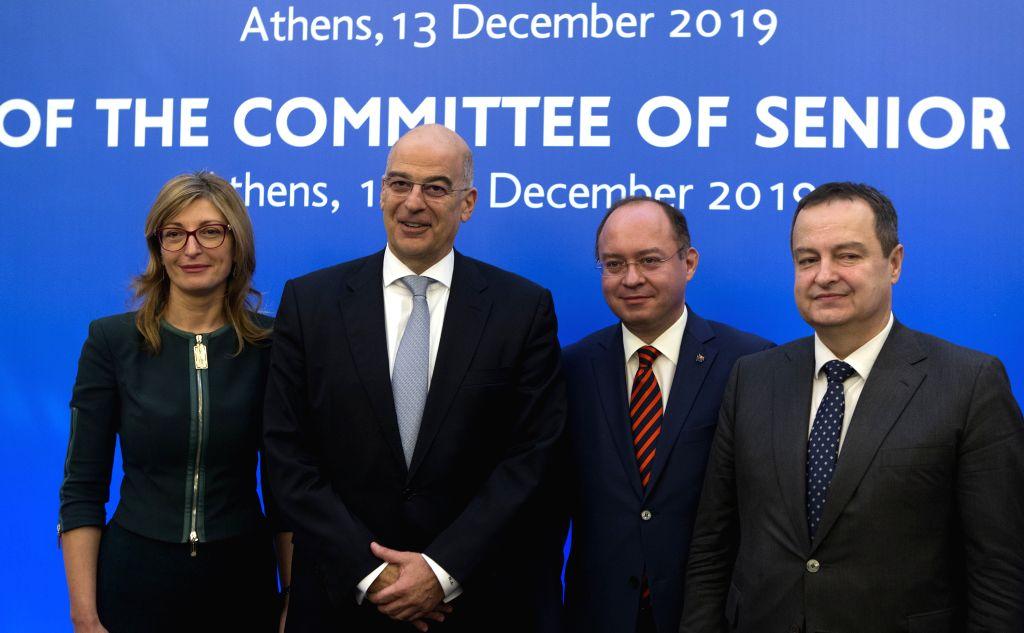 ATHENS, Dec. 13, 2019 - Bulgarian Minister of Foreign Affairs Ekaterina Zaharieva, Greek Minister of Foreign Affairs Nikos Dendias, Romanian Minister of Foreign Affairs Bogdan Aurescu, Serbia ...