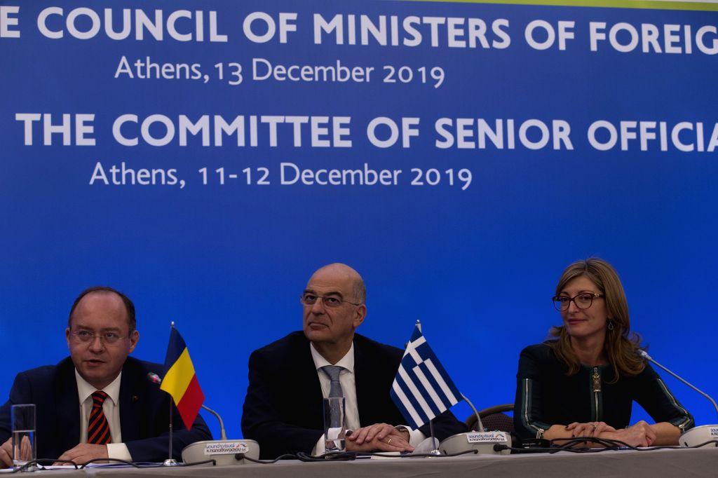ATHENS, Dec. 13, 2019 - Romanian Minister of Foreign Affairs Bogdan Aurescu (L), Greek Minister of Foreign Affairs Nikos Dendias (C) and Bulgarian Minister of Foreign Affairs Ekaterina Zaharieva ...