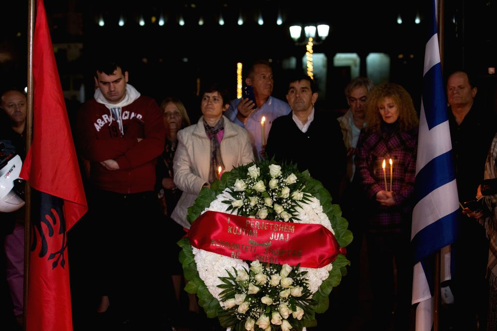 ATHENS, Dec. 3, 2019 - People attend an event in memory of the victims of an earthquake in Athens, Greece, on Dec. 3, 2019. A week after a devastating quake hit Albania, Greeks joined Albanian ...