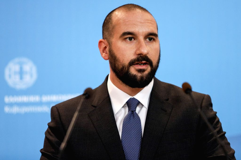 ATHENS, Feb. 15, 2019 - Dimitris Tzanakopoulos, the Greek government spokesperson, is seen announcing the reshuffle of the cabinet in Athens, Greece, on Feb. 15, 2019. Greek cabinet was reshuffled on ...
